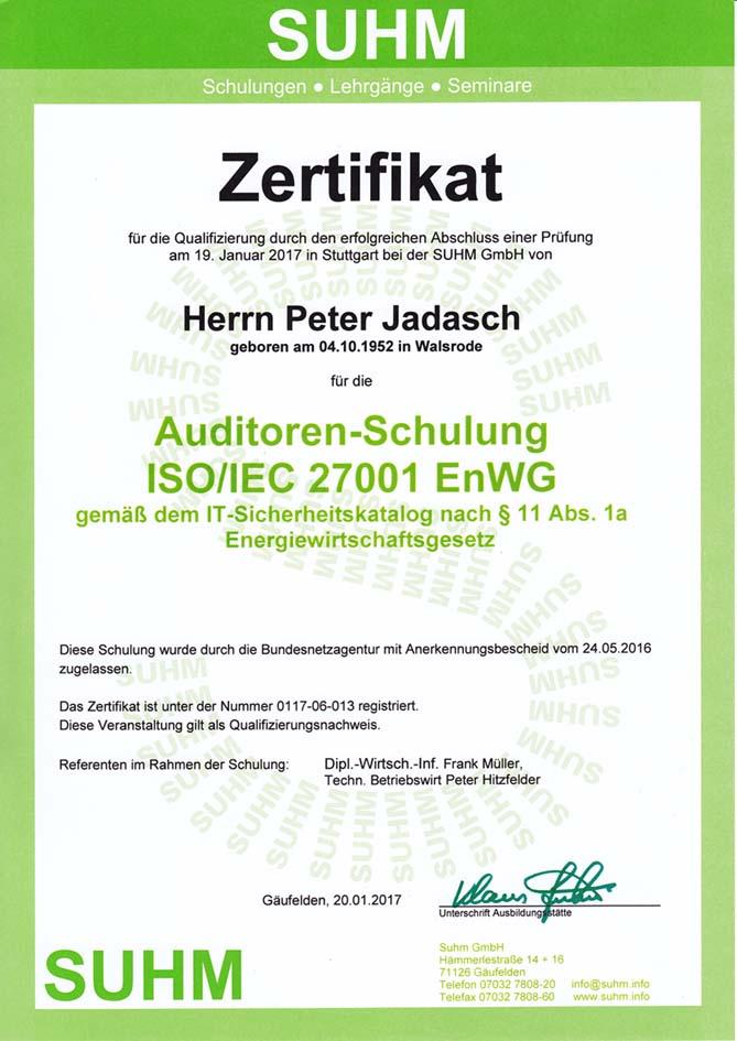Zertifikat ISO 27001 KRITIS